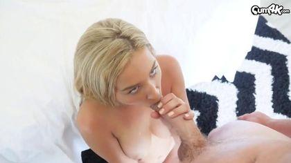 Блондинка до спермы натерла узкой вагиной бритый хрен любовника #4